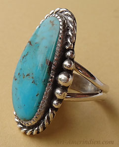 Navajo Indian Sterling silver and turquoise south western ring