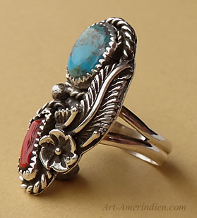 Navajo Indian southwestern ring with turquoise and coral gemms, sterling feather, cactus flower, drops