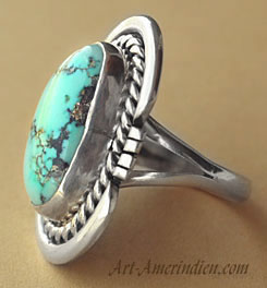 Navajo indian native american sterling silver and turquoise ring, symbols rope and sun