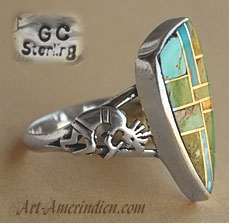 Indian Native American sterling and turquoise stones mosaïc inlay ring with ethnic Kokopelly Indian Symbol