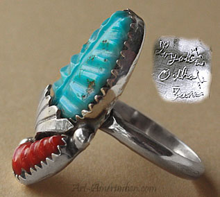 Zuni Indian Native american ring made from sterling silver, engraved turquoise and corail, hallmarked by Zuni artist Loyolita Othole.