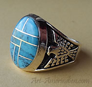 Navajo Indian Native american sterling silver and turquoises mosaïc men's ring