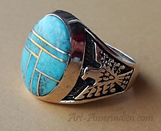 Navajo Indian Native American Sterling silver men's ring, mosaïc turquoise and eagle