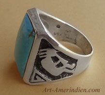 Navajo indian native american mens sterling silver ring with blue skye turquoise and kokopelli dance symbol