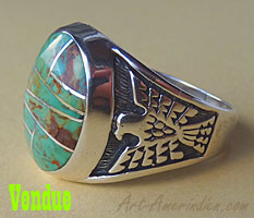 Navajosterling silver and green turquoise mosaic mens ring