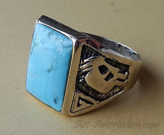 Navajo Indian native american sterling silver Kokopelli symbol and turquoise mens ring