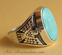 Navajo indian native american sterling silver and turquoise mens ring