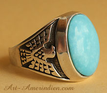 Navajo Indian Native American sterling silver and sky blue turquoise men's ring hallmarked AJM