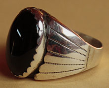 Indian native american Onyx and sterling men's ethnic ring