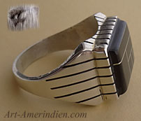 Ray Jack, a Navajo Indian Native American silversmith made this men's ring out of sterling silver and Jet mosaïc inlay