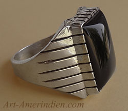 Ray Jack, navajo, made this sterling silver and onyx mens ring size 10