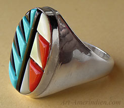 Zuni Indian native american mens ring made out of sterling silver, turquoise, coral, jet, m.o.p.