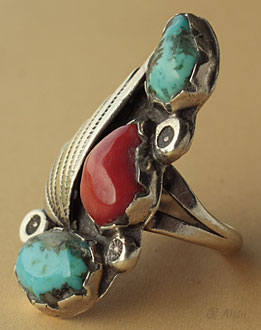 Navajo indian native american sterling silver ring, 2 turquoises, 1 coral, tribal symbols shell, sun, drops
