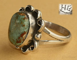 Navajo Indian Native American sterling silver and turquoise ring hallmarked HG, size 6 1/2