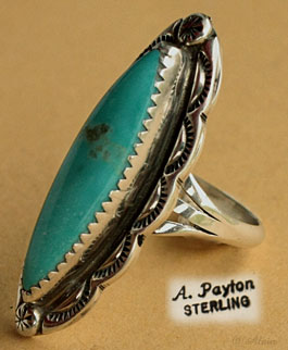 Indian Native American Navajo sterling silver and turquoise ring hallmarked Albert Payton