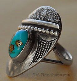 Navajo indian native american modernist ring, turquoise and sterling silver, hallmarked Jimmie Patterson