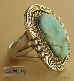Indian Native american Navajo ring, sterling silver and turquoise, size 7 1/4