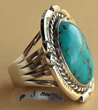 Navajo Indian Native American sterling silver turquoise ring hallmarked PJ