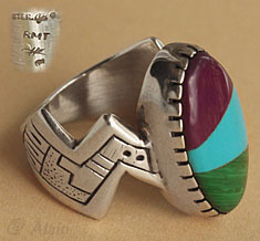 Indian Native american modernist ring hallmarked RMT for Roderick & Marilyn Tenorio from Santo Domingo pueblo.