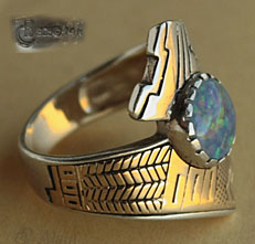 Rare Santo Domingo Indian Native American ring sterling & 14k gold, hallmarked Relios Jewelry and Roderick Tenorio.
