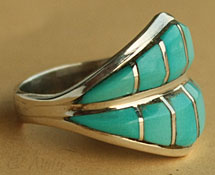 Zuni american native indian turquoise inlayed ring
