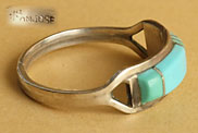 Zuni Indian Native American Turquoise mosaïc and sterling silver ring hallmarked CS Lonjose