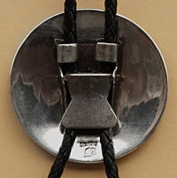 Hopi Indian Native American sterling silver man in maze overlay bolo tie, made by Hopi artist Roger Selina