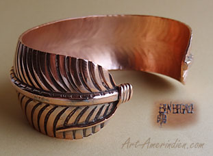 Navajo indian native american copper bracelet hallmarked Ben Begaye