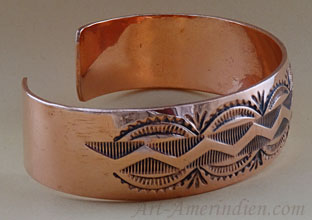 Navajo Indian Native American cuff bracelet, ethnic copper jewelry
