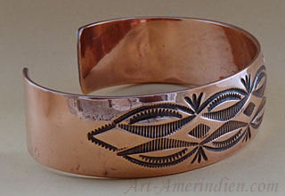 Navajo Indian Native American Verna Tahe made this copper bracelet