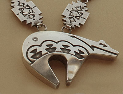 Navajo Indian Native american medicine bear sterling necklace handmade from sterling silver