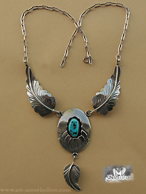 Indian native american Navajo sterling silver necklace, eagle feathers and shadow box turquoise, hallmarked M